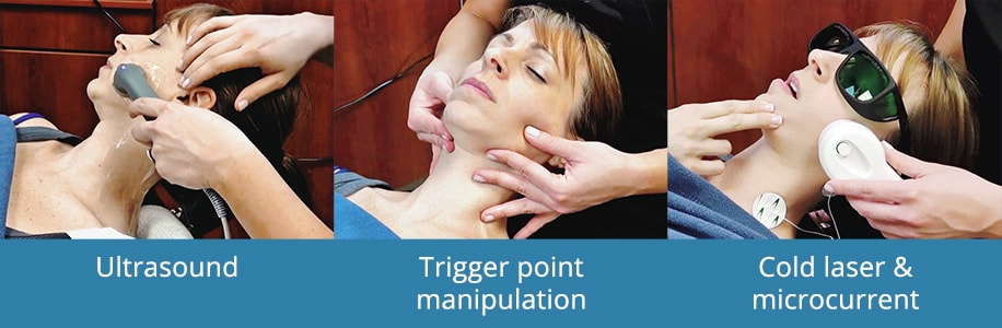 Patient Receiving Ultrasound, Trigger Point Manipulation, And Cold Laser Treatments