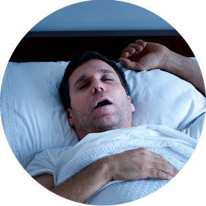 Sleep Apnea - Man sleeping with mouth open
